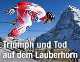 Michael Walchhofer beim Start am Lauberhorn mit Blick auf den Aiger