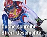 Didier Cuche im Sprung bei der Kitzbühel-Abfahrt