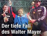 österreichisches Staffelteam mit Michail Botwinow, Trainer Walter Mayer und Alois Stadlober  bei der Siegesfeier  in der Ramsau 1999