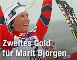 Norwegerin Marit Björgen jubelt über ihren Sieg