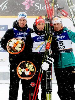 Tino Edelmann (GER), Eric Frenzel (GER) und Felix Gottwald (AUT)