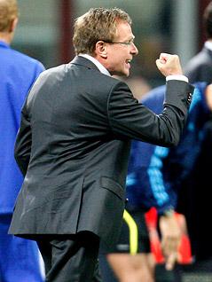 Jubel von Schalkes Trainer Ralf Rangnick