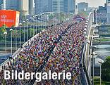 Tausende Menschen laufen beim Vienna City Marathon über die Reichsbrücke