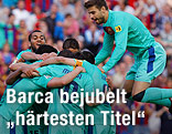 Barcelona-Spieler jubeln