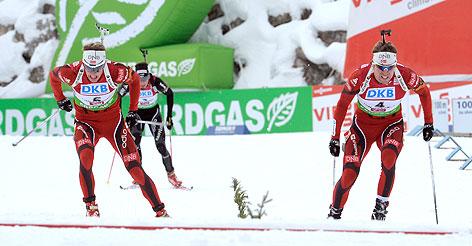 Tarjei Boe (NOR) und Emil Hegle Svendsen (NOR) vor dem Finish