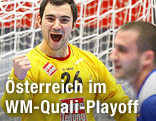 Österreichs Handball-Torhüter Christian Aigner jubelt