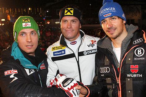 Marcel Hirscher (AUT), Ivica Kostelic (CRO) und Felix Neureuther (GER)