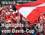 Österreichische Fans schwenken eine Fahne
