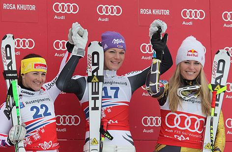 Elisabeth Goergl, Maria Höfl-Riesch und Lindsey Vonn