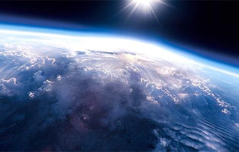 Blick auf die Erde von der Stratosphäre aus