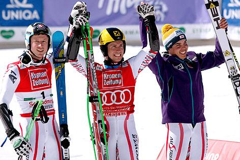 Hannes Reichelt, Marcel Hirscher und Marcel Mathis