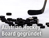 Pucks und Eishockeyschläger