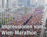 Blick auf die Reichsbrücke wäährend des Vienna City Marathons