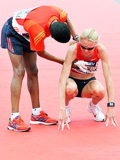 Die Sieger des Halbmarathons Haile Gebrselassie und Paula Radcliffe