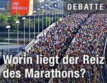 Das Teilnehmerfeld auf der reichsbrücke kurz nach dem Start des Vienna City Marathons