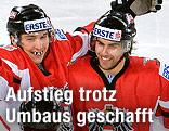 Patrick Harand, Matthias Trattnig und Matthias Schumnig (Österreich) jubeln