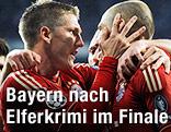 Jubel von Bastain Schweinsteiger und Arjen Robben (beide Bayern)