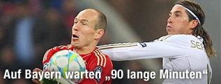 Arjen Robben (Bayern) und Sergio Ramos (Real)