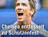 Jubel von Fernando Torres (Chelsea)