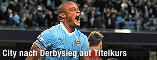 Jubel von Vincent Kompany (Manchester City)