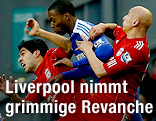 Jonjo Shelvey, Luis Suarez (Liverpool) und Daniel Sturridge (Chelsea)