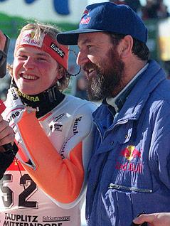Skisprung-Trainer Edi Federer mit Andreas Goldberger