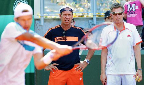 Jürgen Melzer, Physiotherapeut Jan Velthuis und Ex-Trainer Joakim Nyström