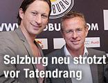 Der neue Cheftrainer von Red Bull Salzburg Roger Schmidt und der neue Sportdirektor Ralf Rangnick