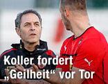 Teamchef Marcel Koller und Marko Arnautovic