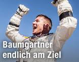 Felix Baumgartner jubelt nach seiner Landung am Boden