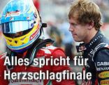 Fernando Alonso (Ferrari) mit Helm, neben ihm Sebastian Vettel (Red Bull)