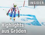 Skifahrer auf der Strecke in Gröden
