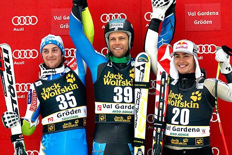 Rok Perko (SLO), Steven Nyman (USA) und Erik Guay (CAN)