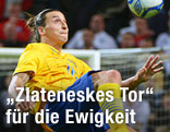 Fallrückzieher von Zlatan Ibrahimovic (SWE) im Testspiel Schweden gegen England