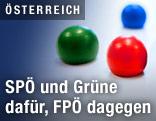 Farbige Kugeln symbolisieren die Parteien SPÖ, Grüne und FPÖ
