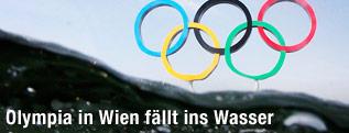 Die olympischen Ringe im Wasser