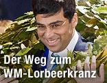 Schachspieler Viswanathan Anand mit Lorbeerkranz