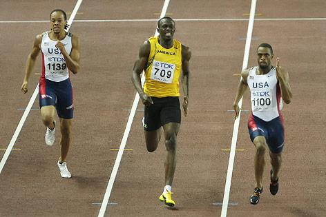Tyson Gay vor Usain Bolt