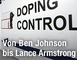 """Schild zeigt """"Dopingcontrol"""""""
