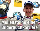 Sebastian Vettel jubelt nach einem Sieg in der  Formel BMW ADAC Meisterschaft