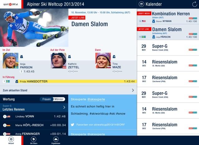 Screenshot der Weltcup-App