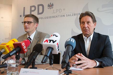 Der stellvertretende Leiter des Landeskriminalamtes Salzburg, Karl-Heinz Pracher und der Sprecher der Staatsanwaltschaft Salzburg, Marcus Neher
