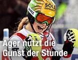 Christina Ager jubelt beim Weltcup-Slalom in Levi