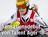 Christina Ager während des Damen-Slaloms in Levi