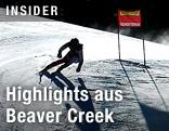 Silhouette einer Skifahrerin
