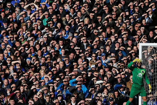 Die Sonne blendet Fans und Everton Torhüter Tim Howard im Spiel gegen Tottenham