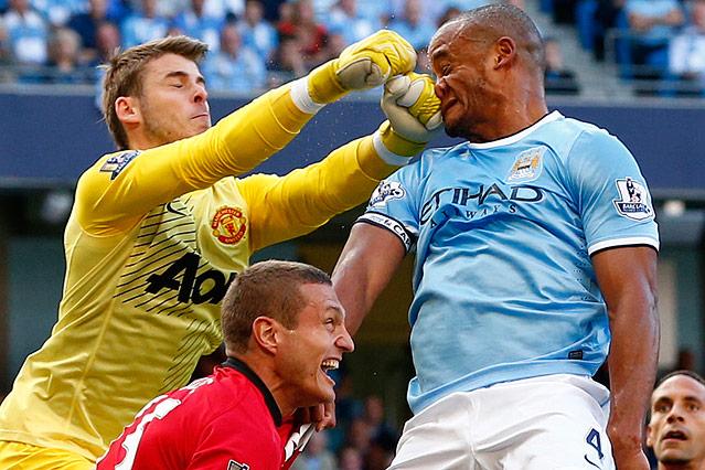 Manchester City's Vincent Kompany gegen Manchester United's David de Gea