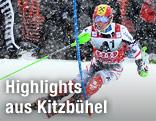 Marcel Hirscher (AUT) im ersten Durchgang vom Kitzbühel-Slalom