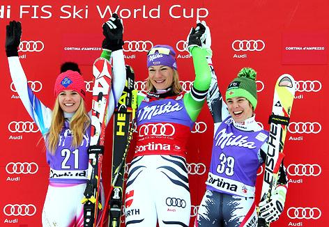 Tina Weirather (LIE), Maria Hoefl-Riesch (GER) und Nicole Schmidhofer (AUT)