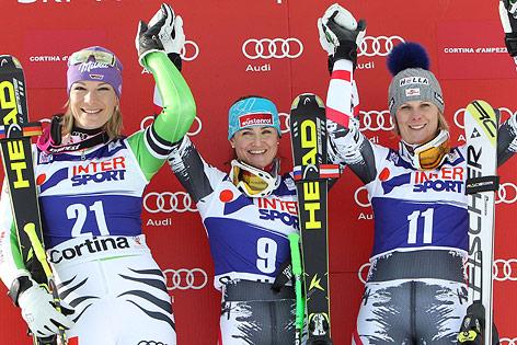 Elisabeth Görgl, Maria Höfl-Riesch und Nicole Hosp